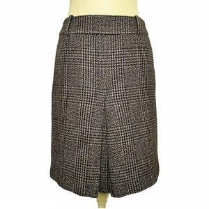 Ann Taylor Black Brown Plaid Wool Box Pleat